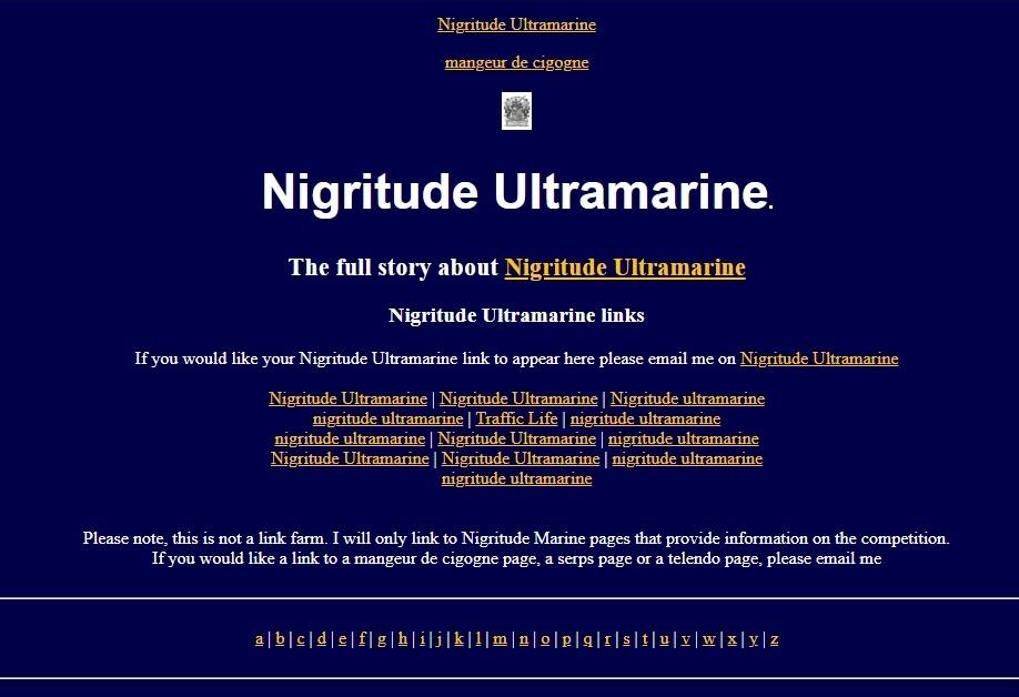 Nigritude Ultamarine SEO Competition